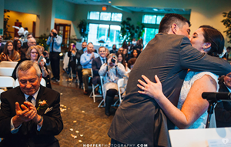 Hunterdon Hills Playhouse Wedding Ceremony - Kissing the Bride